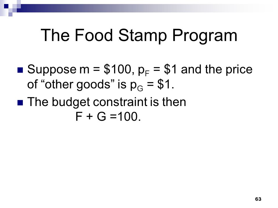 The Food Stamp Program Suppose m = $100, pF = $1 and the price of other goods is pG = $1.