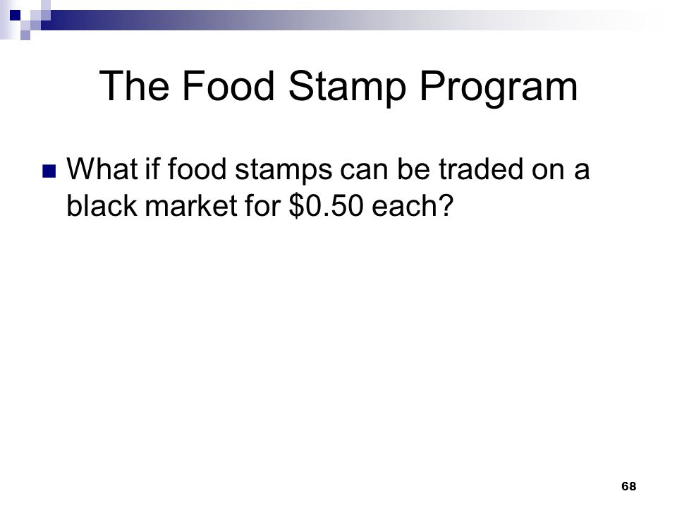 The Food Stamp Program What if food stamps can be traded on a black market for $0.50 each