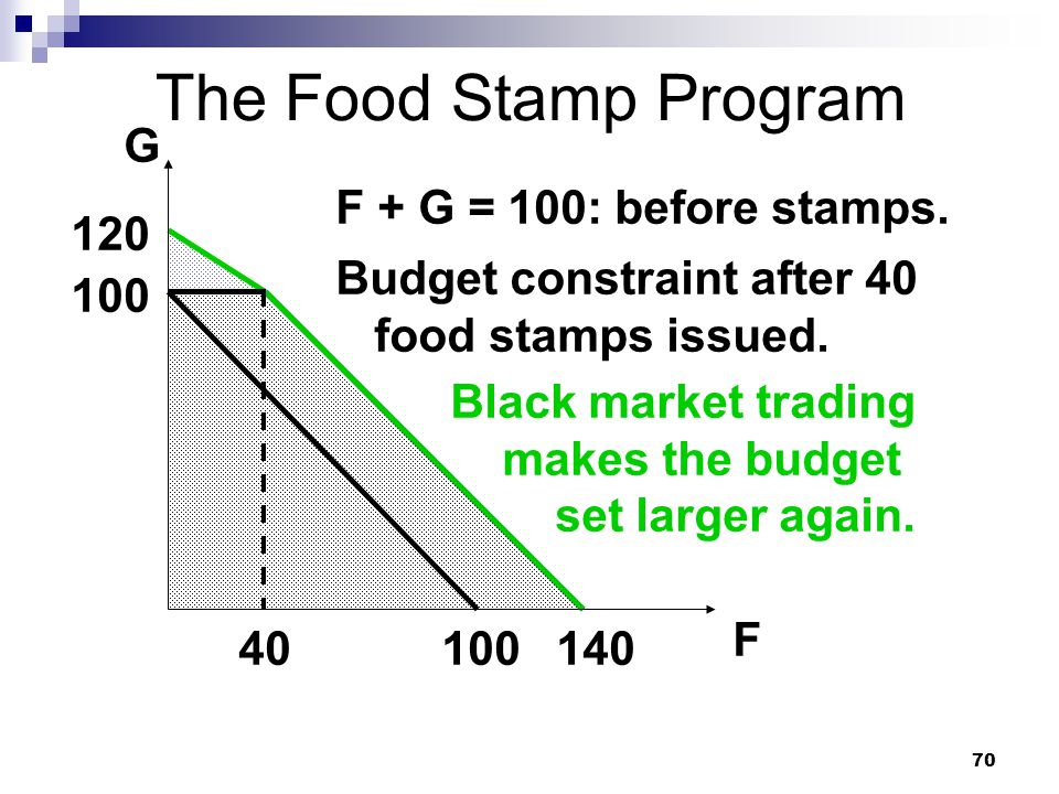 The Food Stamp Program G F + G = 100: before stamps. 120