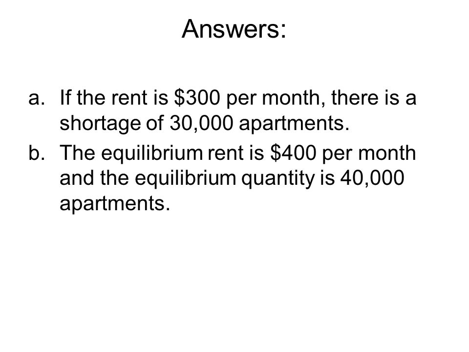 Answers: If the rent is $300 per month, there is a shortage of 30,000 apartments.