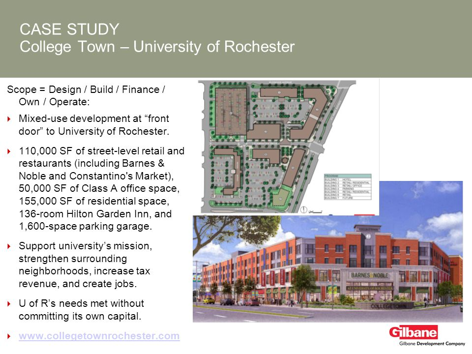CASE STUDY College Town – University of Rochester