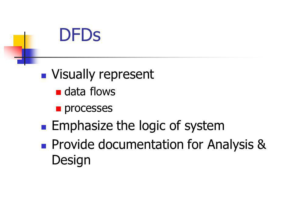 DFDs Visually represent Emphasize the logic of system