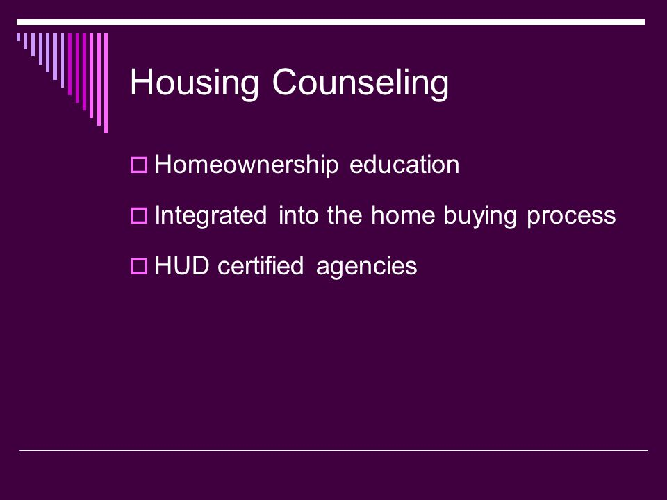Housing Counseling Homeownership education