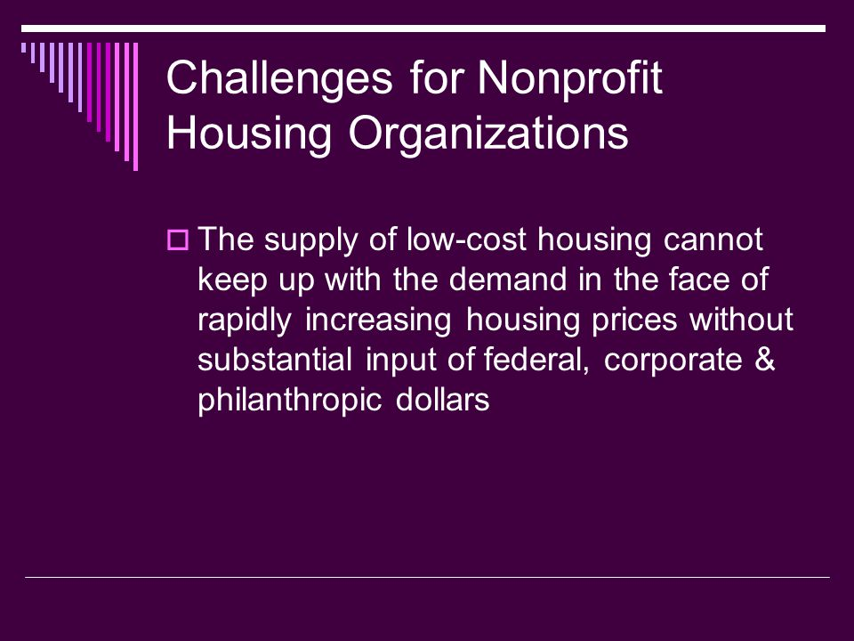 Challenges for Nonprofit Housing Organizations