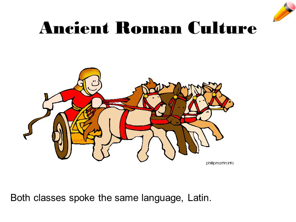 Ancient Roman Culture Both classes spoke the same language, Latin.
