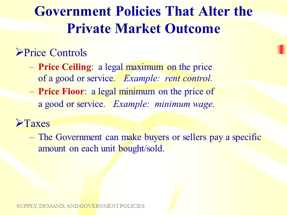 Government Policies That Alter the Private Market Outcome
