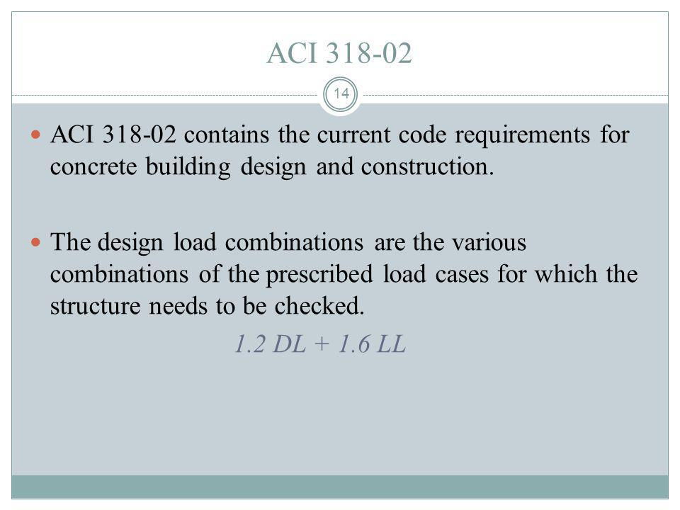 ACI 318-02 ACI 318-02 contains the current code requirements for concrete building design and construction.