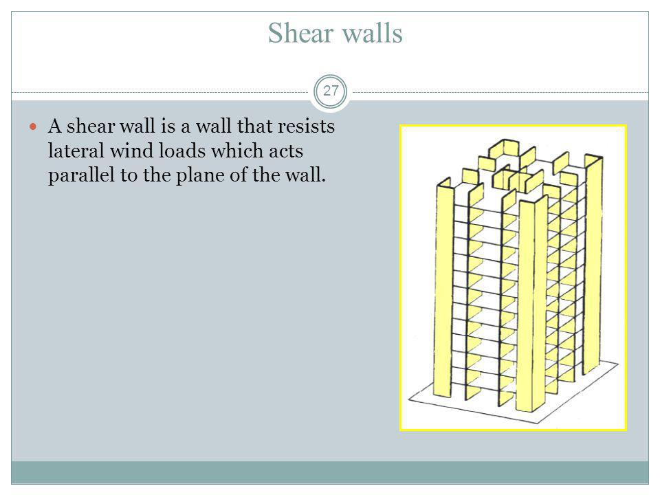 Shear walls A shear wall is a wall that resists lateral wind loads which acts parallel to the plane of the wall.