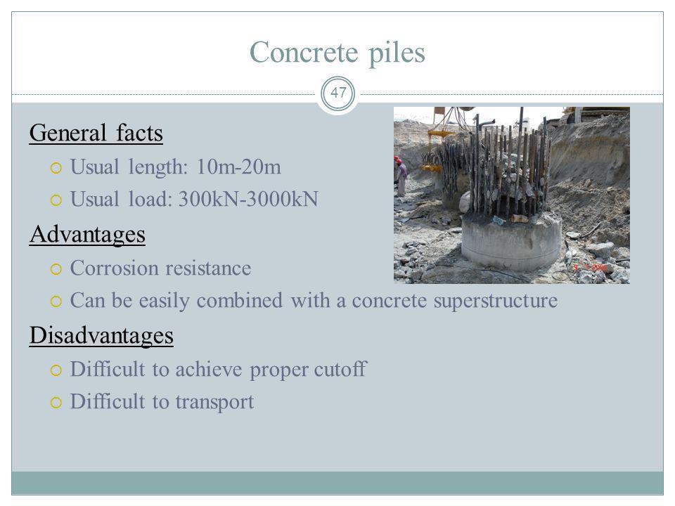 Concrete piles General facts Advantages Disadvantages