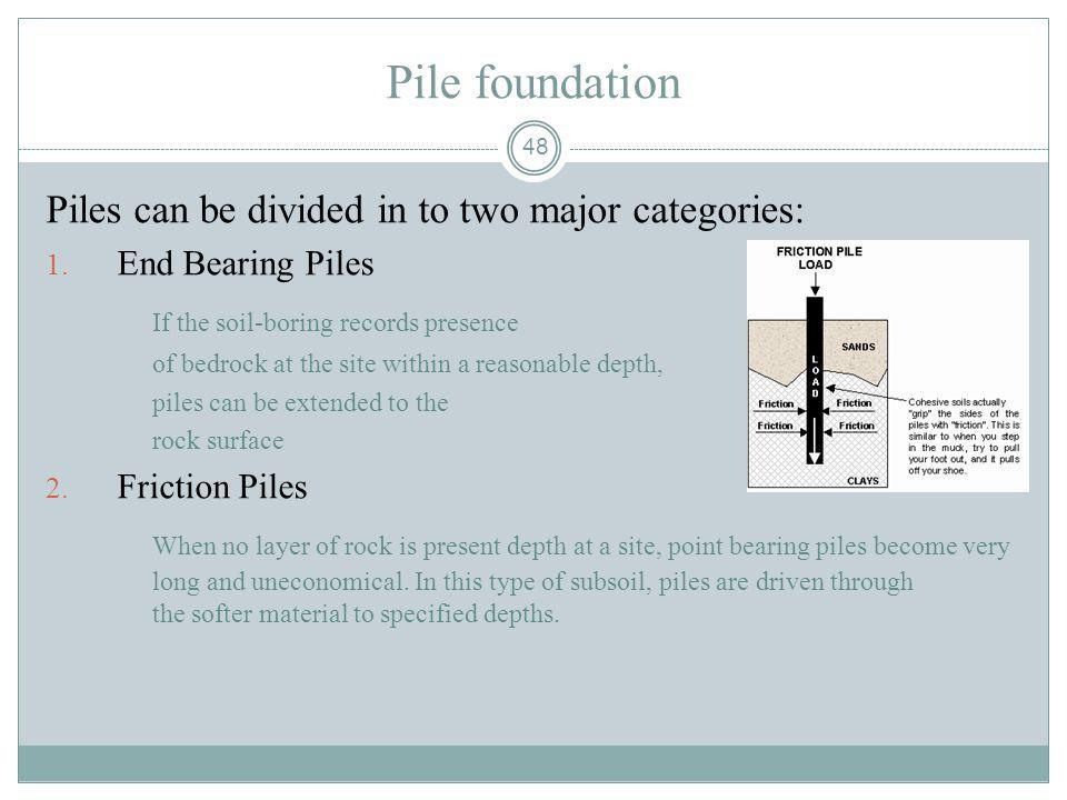Pile foundation Piles can be divided in to two major categories:
