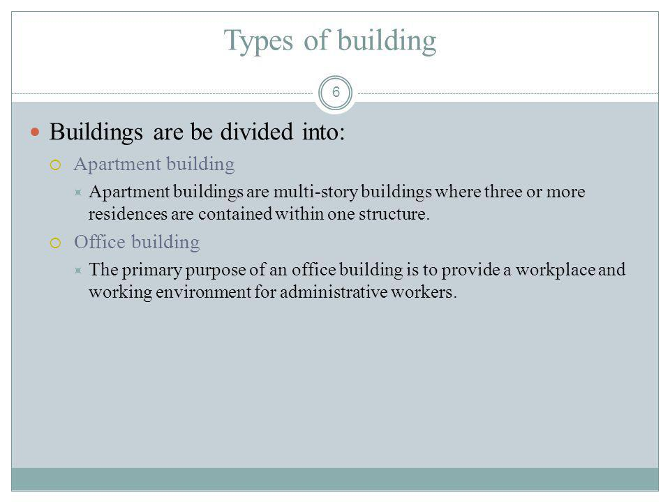 Types of building Buildings are be divided into: Apartment building