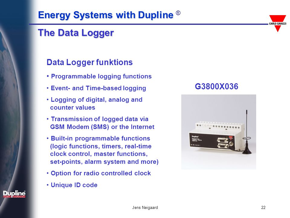 The Data Logger Data Logger funktions G3800X036