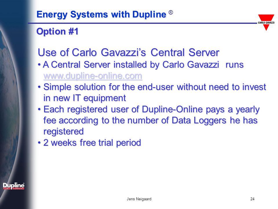 Use of Carlo Gavazzi's Central Server