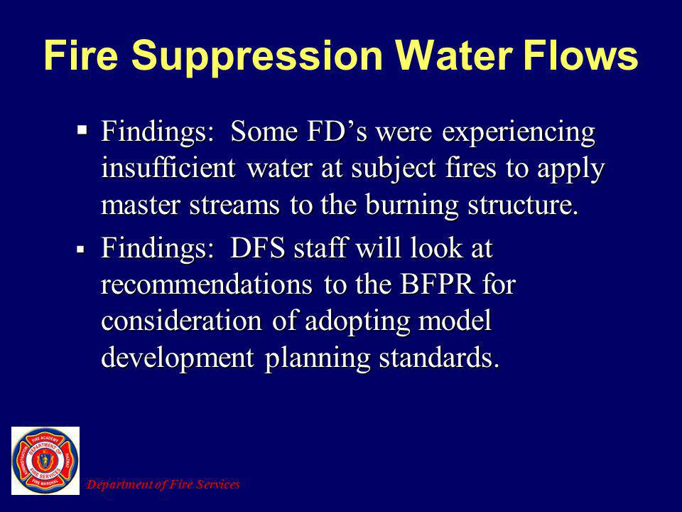 Fire Suppression Water Flows