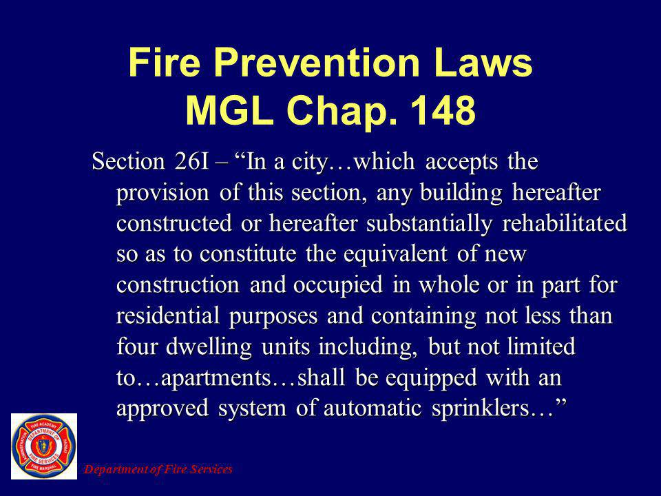 Fire Prevention Laws MGL Chap. 148