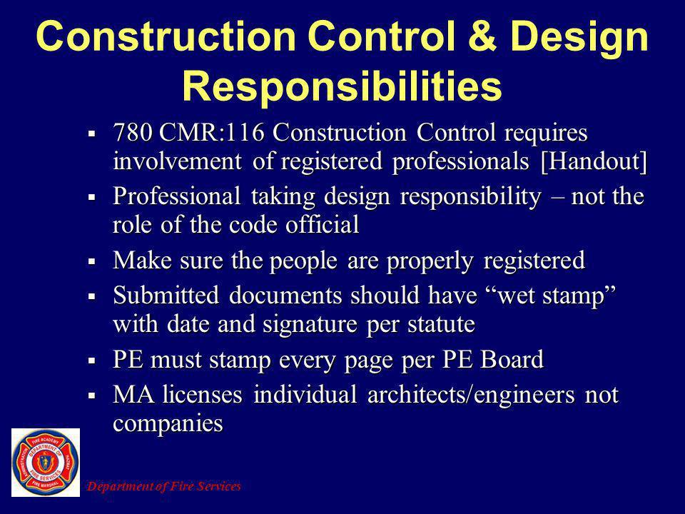 Construction Control & Design Responsibilities