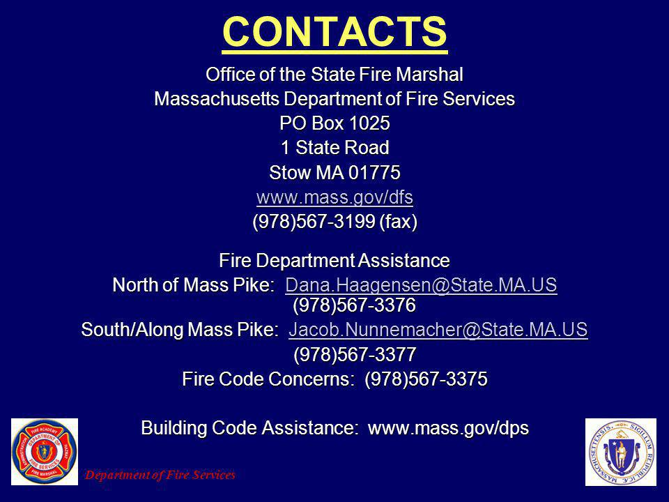 CONTACTS Office of the State Fire Marshal