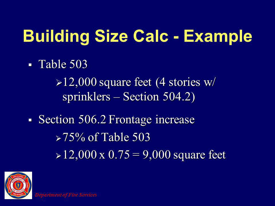 Building Size Calc - Example