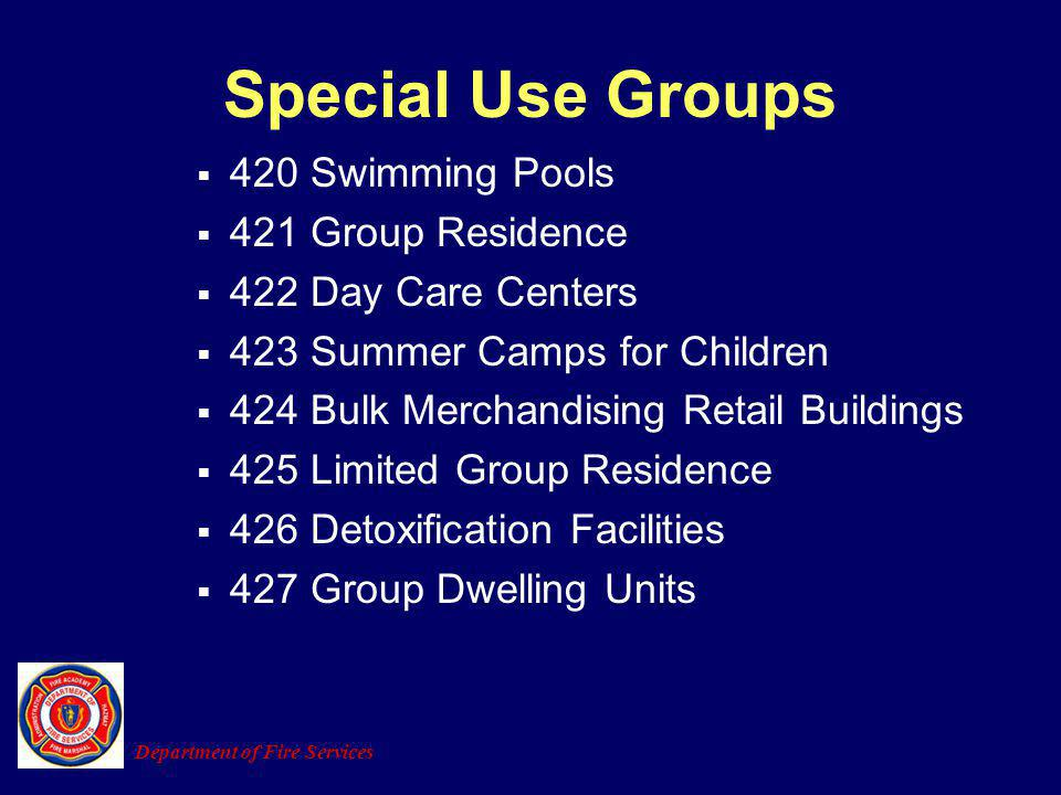 Special Use Groups 420 Swimming Pools 421 Group Residence