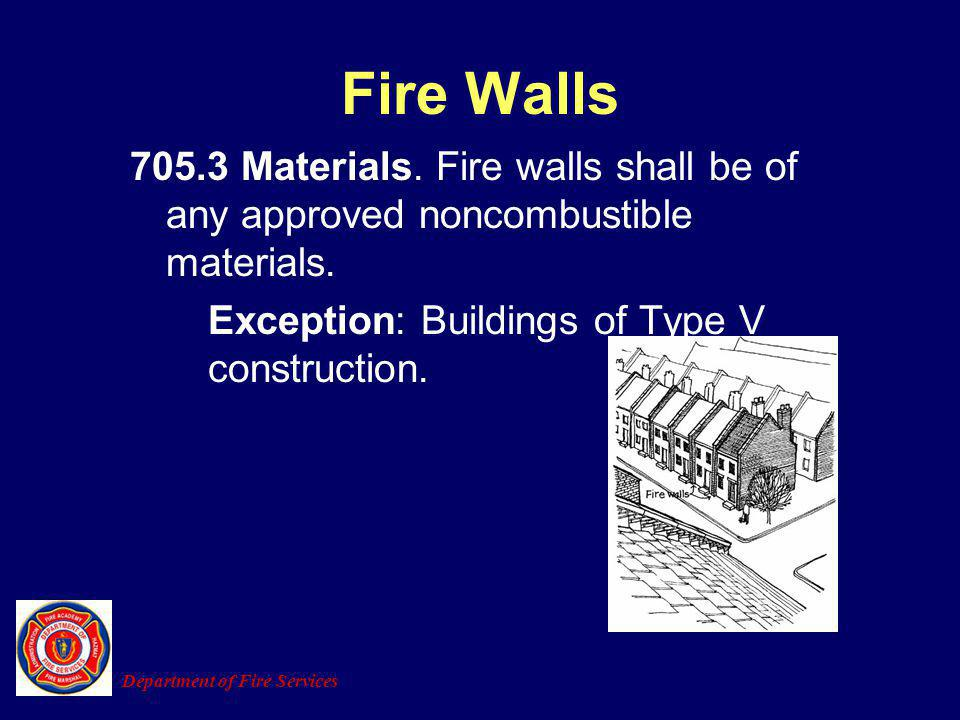 Fire Walls 705.3 Materials. Fire walls shall be of any approved noncombustible materials. Exception: Buildings of Type V construction.