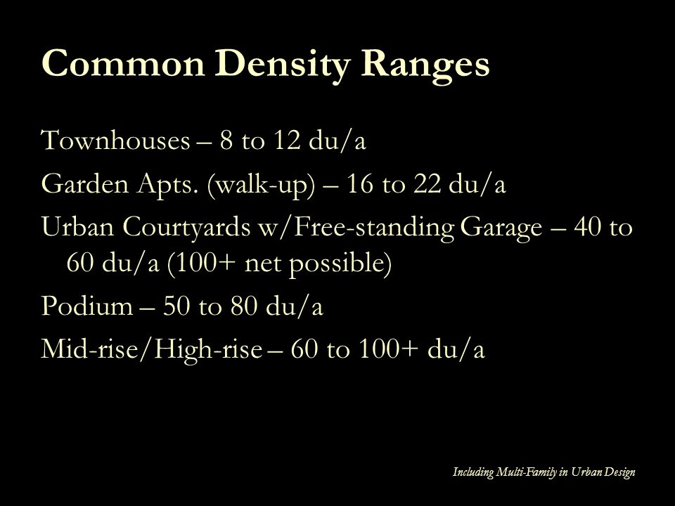 Common Density Ranges Townhouses – 8 to 12 du/a