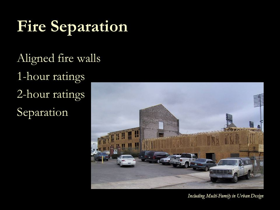 Fire Separation Aligned fire walls 1-hour ratings 2-hour ratings