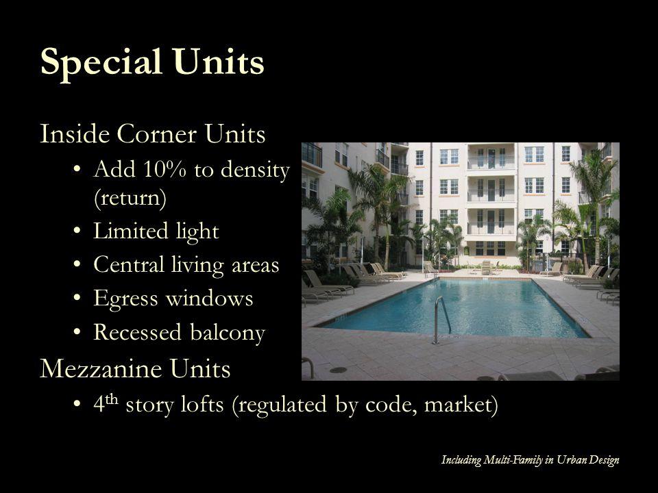 Special Units Inside Corner Units Mezzanine Units