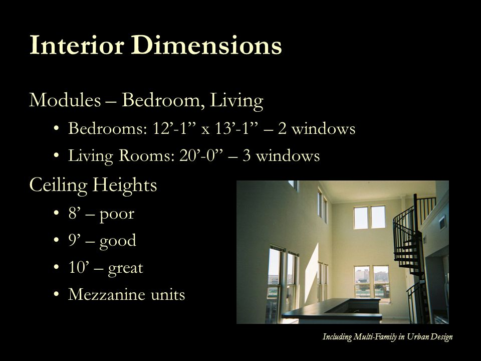 Interior Dimensions Modules – Bedroom, Living Ceiling Heights
