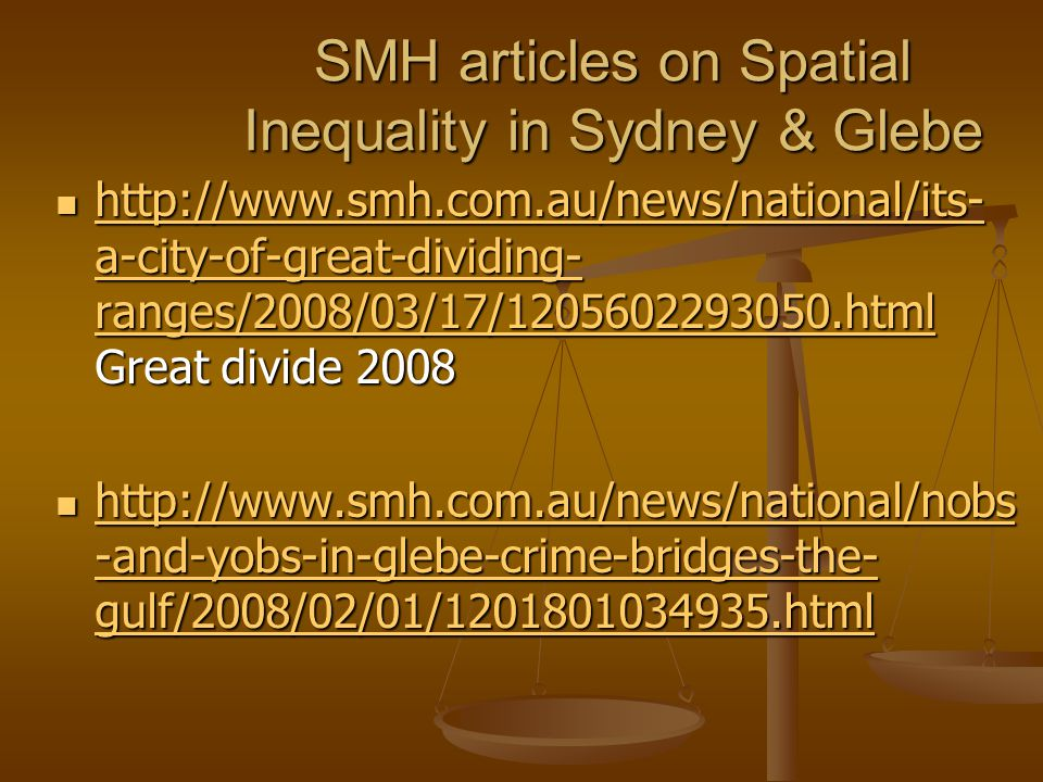 SMH articles on Spatial Inequality in Sydney & Glebe