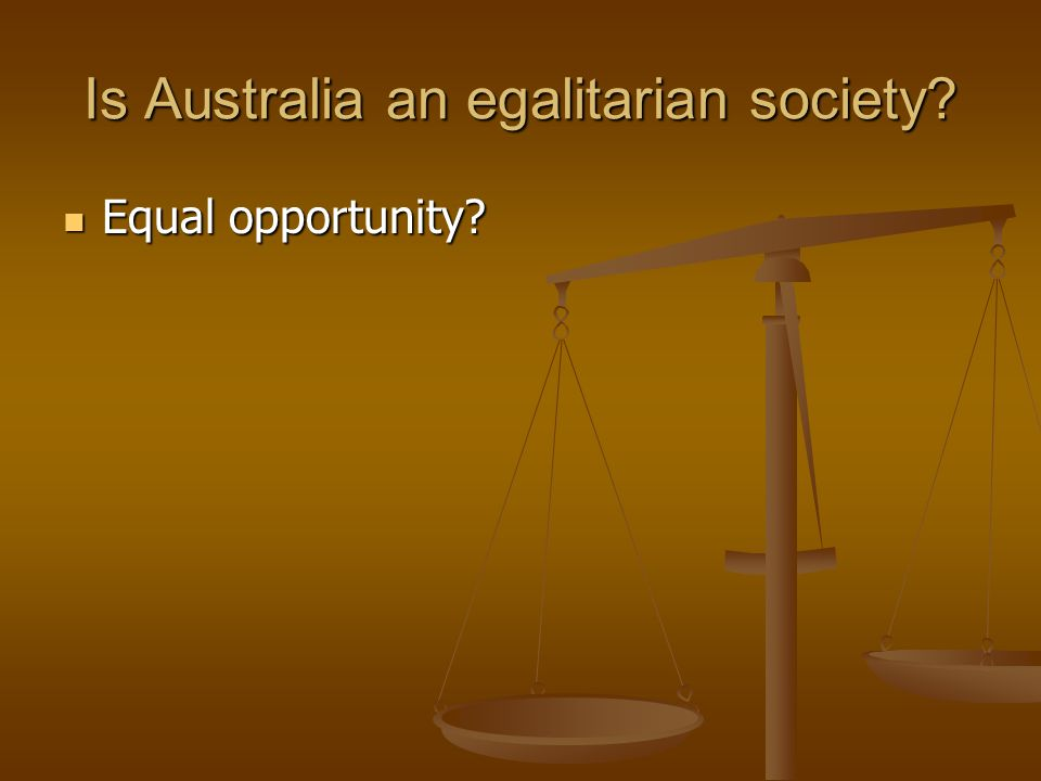 Is Australia an egalitarian society