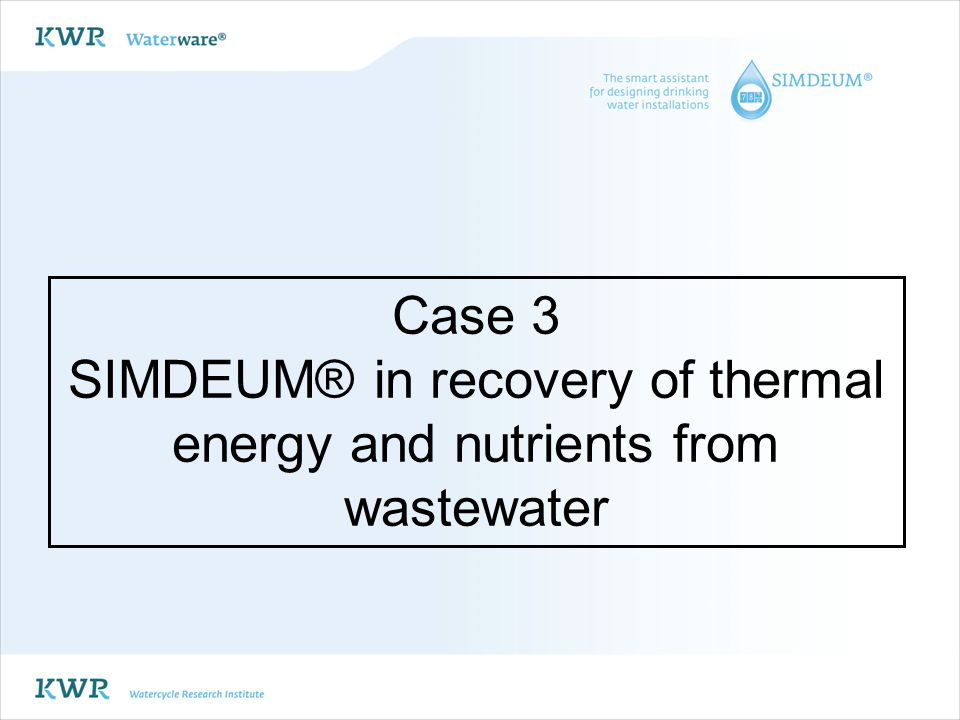 SIMDEUM® in recovery of thermal energy and nutrients from wastewater