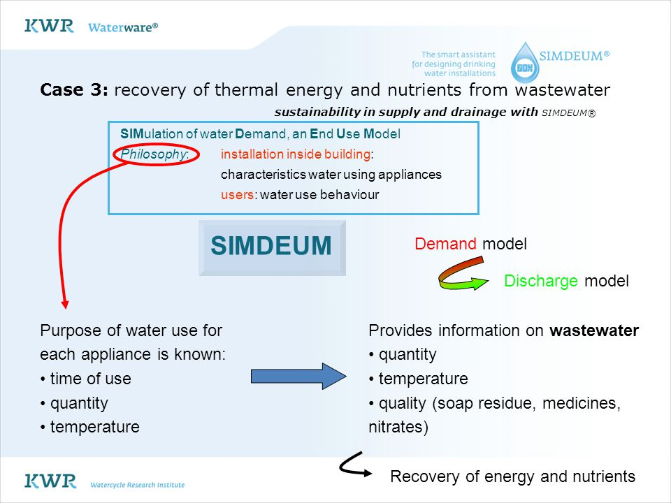 Case 3: recovery of thermal energy and nutrients from wastewater