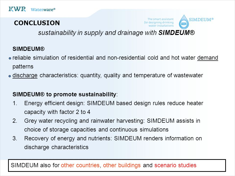 sustainability in supply and drainage with SIMDEUM®