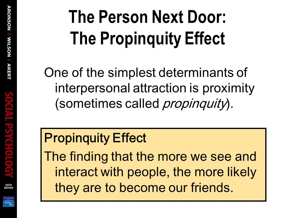 The Person Next Door: The Propinquity Effect
