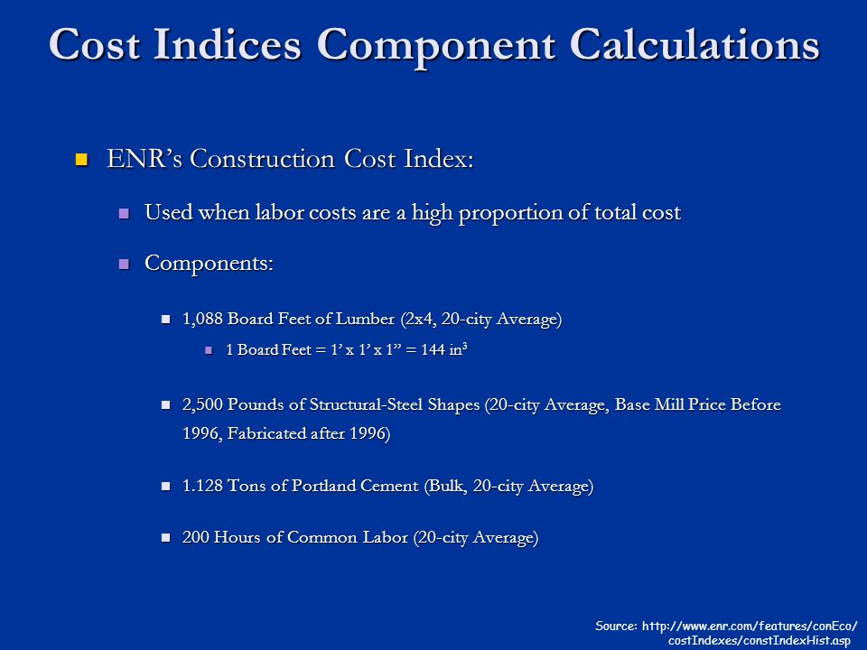 Cost Indices Component Calculations