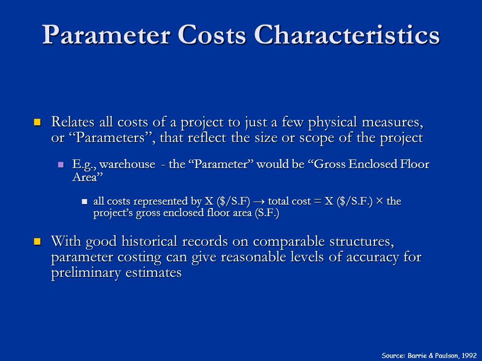Parameter Costs Characteristics