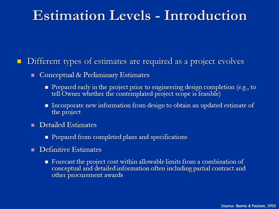 Estimation Levels - Introduction