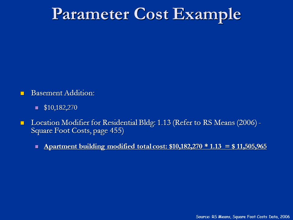 Parameter Cost Example