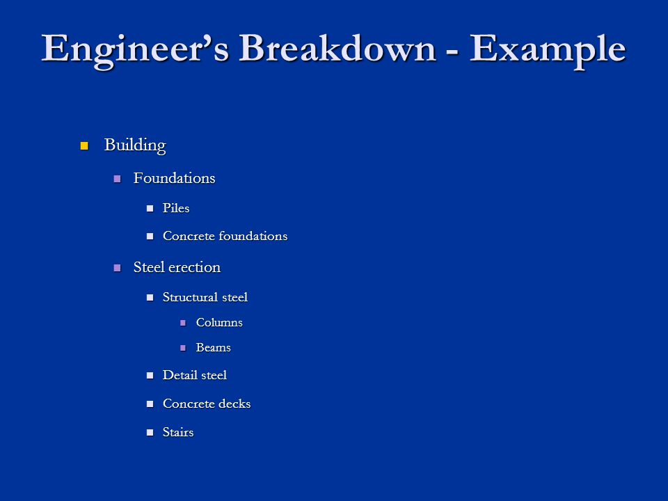 Engineer's Breakdown - Example