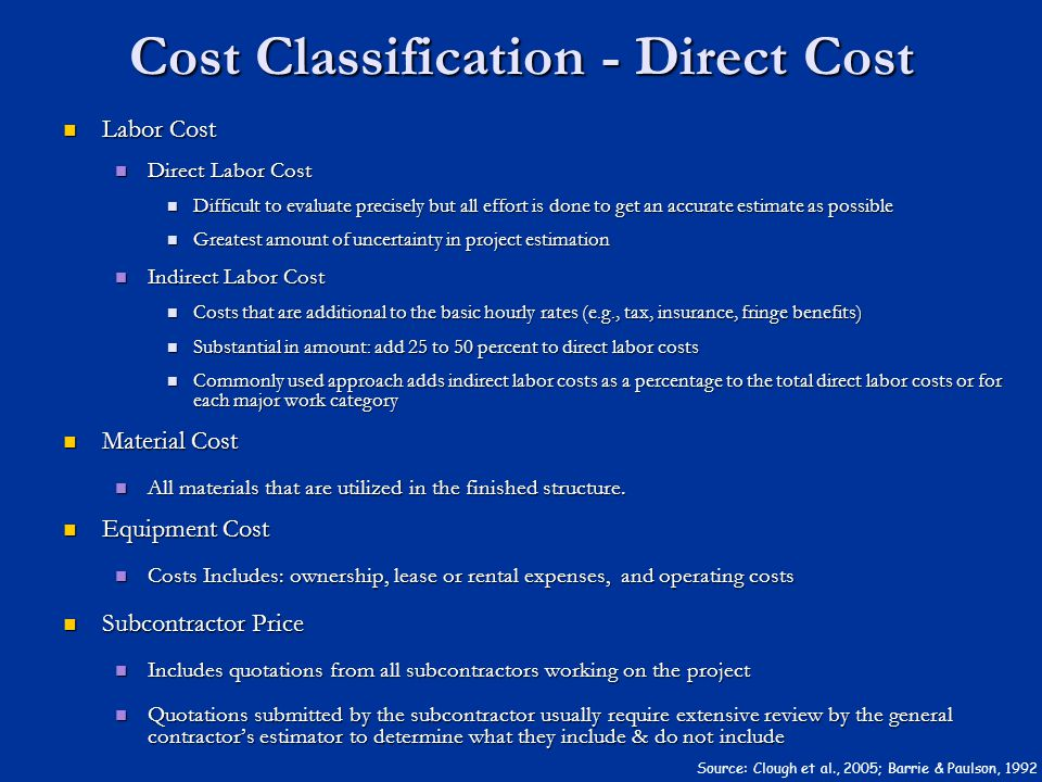 Cost Classification - Direct Cost