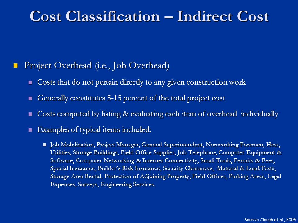 Cost Classification – Indirect Cost