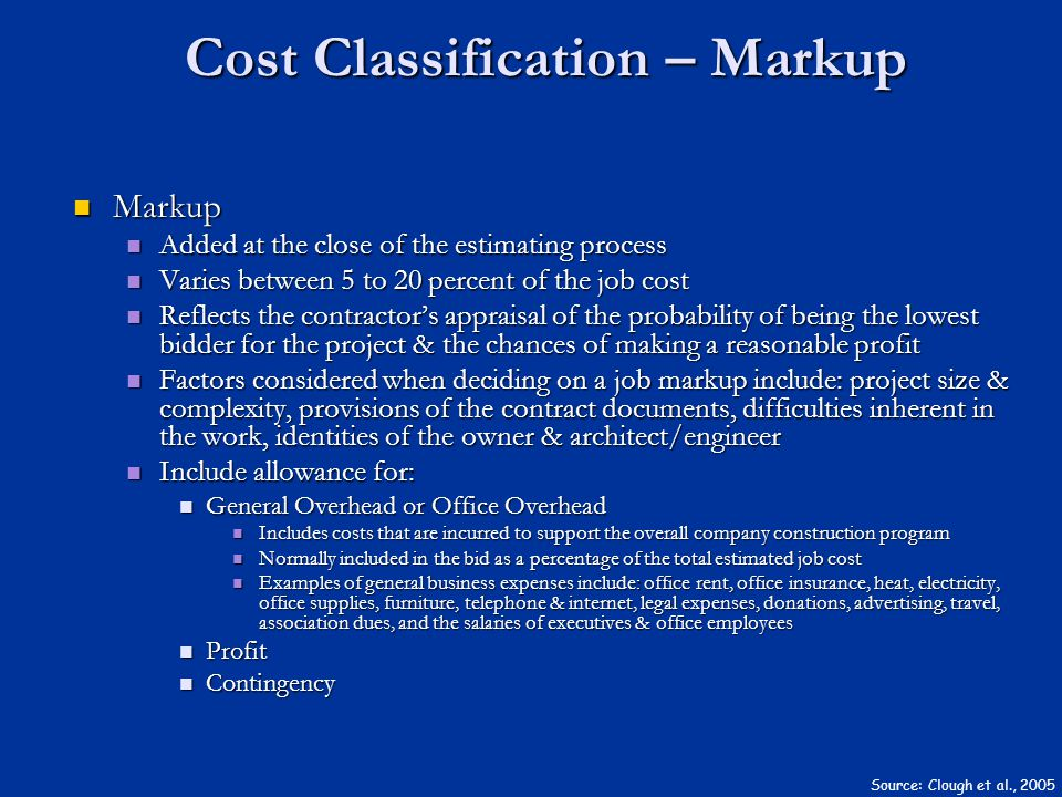 Cost Classification – Markup