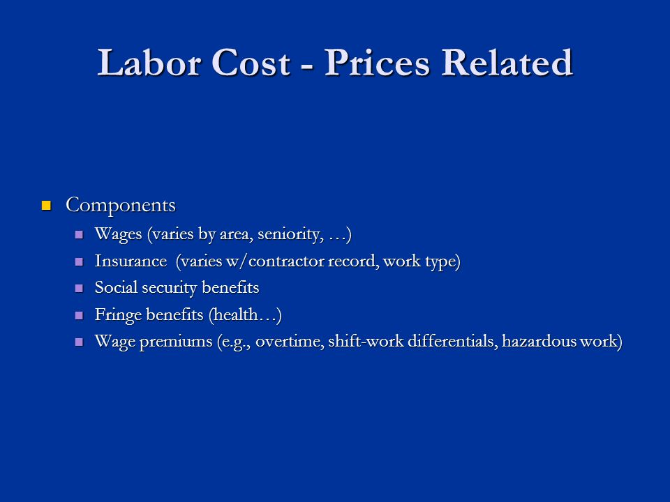 Labor Cost - Prices Related