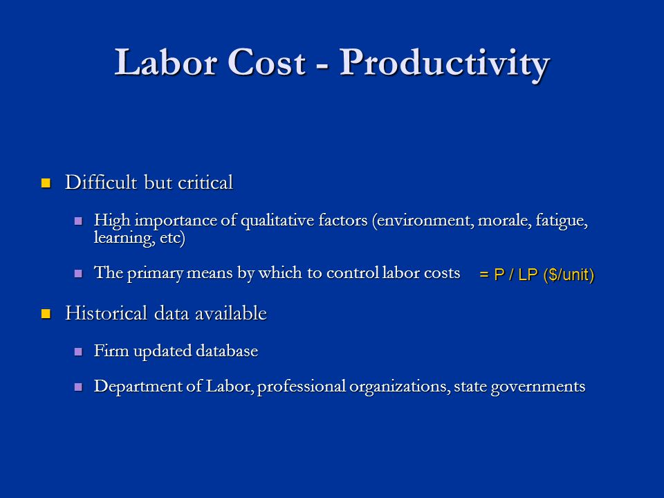 Labor Cost - Productivity