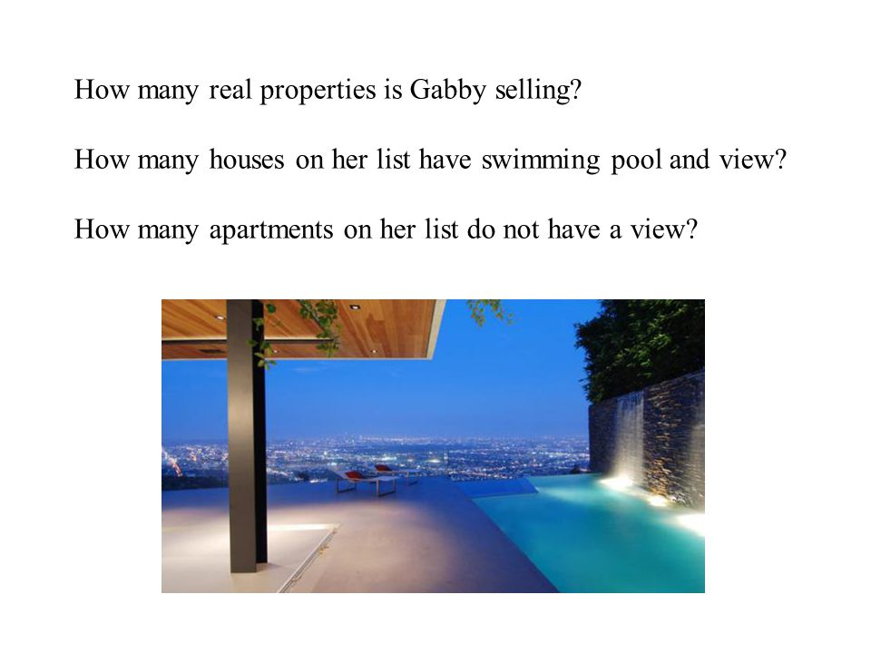 How many real properties is Gabby selling