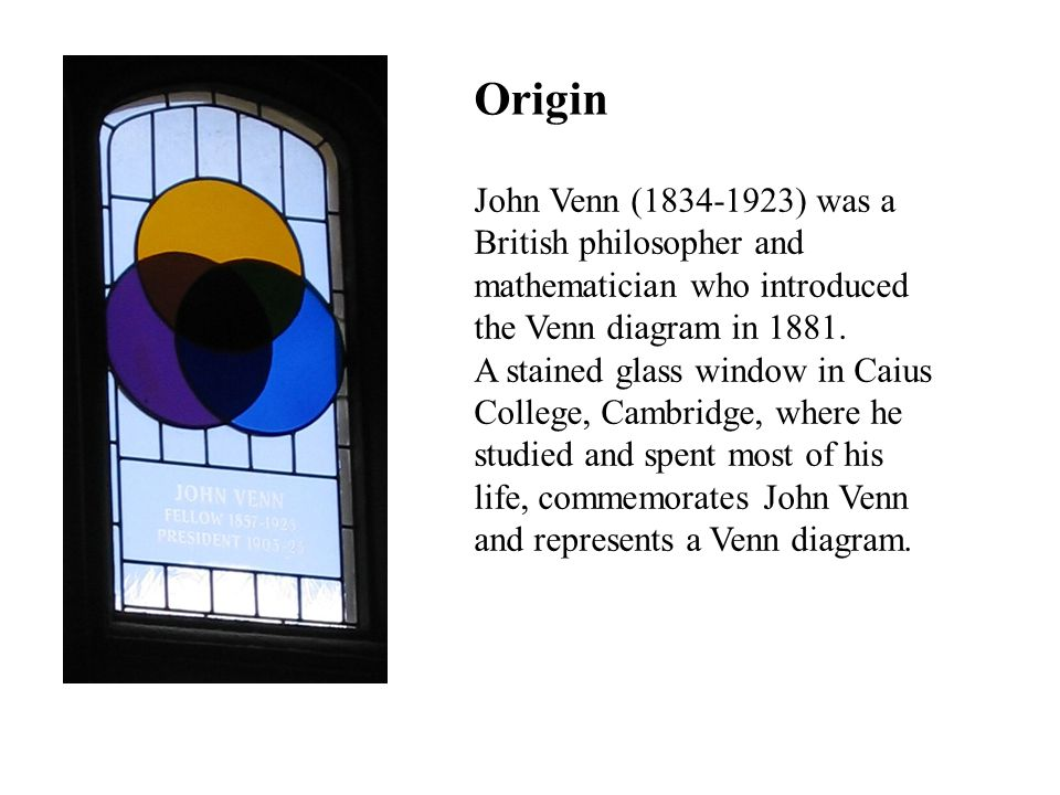 Origin John Venn (1834-1923) was a British philosopher and mathematician who introduced the Venn diagram in 1881.