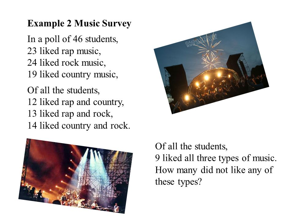 Example 2 Music Survey In a poll of 46 students, 23 liked rap music, 24 liked rock music, 19 liked country music,