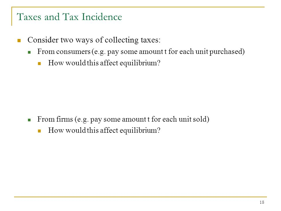 Taxes and Tax Incidence