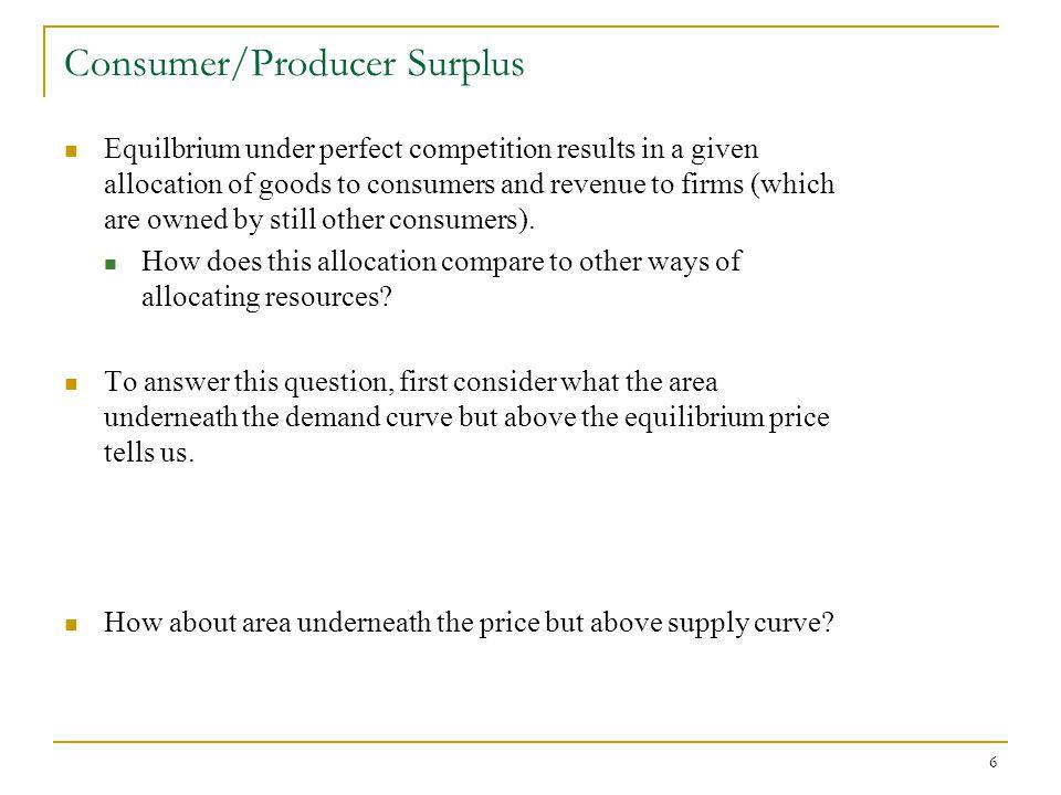 Consumer/Producer Surplus