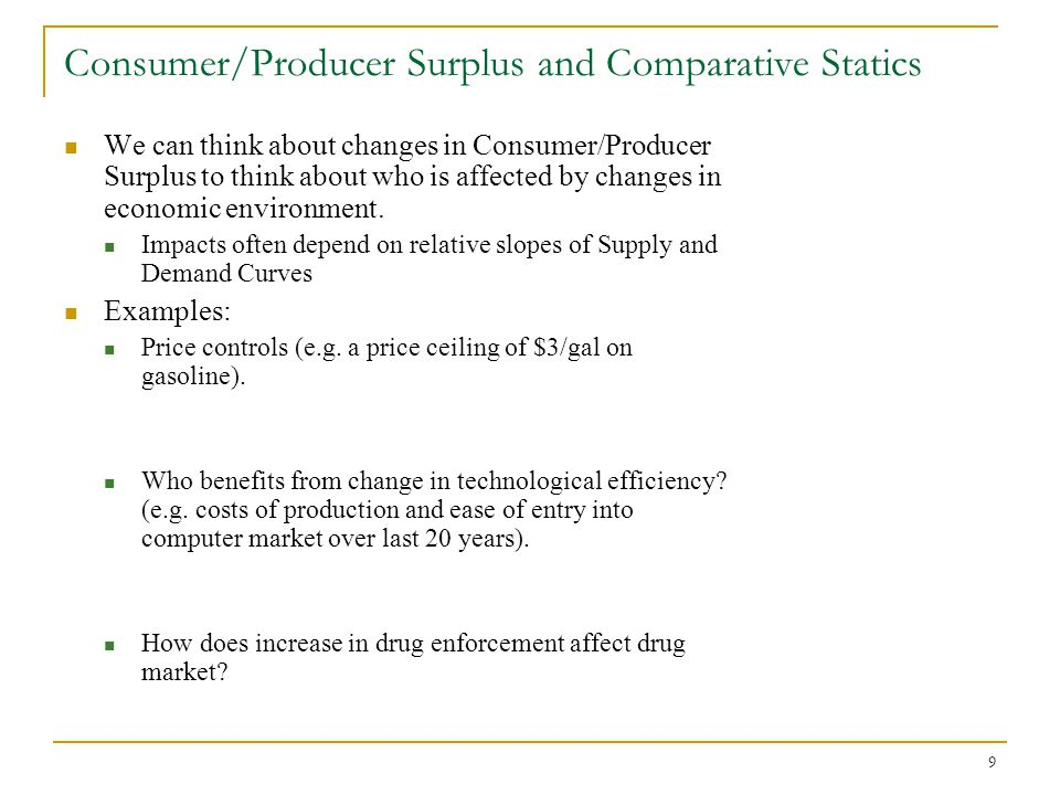 Consumer/Producer Surplus and Comparative Statics
